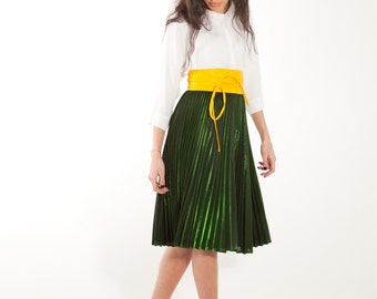 Pleated at Green Chameleon midi skirt