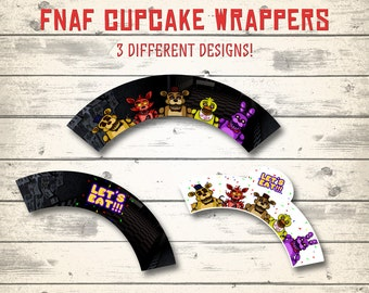 FNAF cupcake wrappers, Five Nights at Freddy's cupcake toppers! 3 different designs!