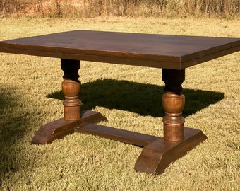 Farmhouse Table   Dining Table   Solid Wood Table   Harvest Turned Leg Pedestal Table