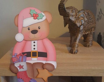 Bear in pink with stocking on the shelf christmas card and envelope