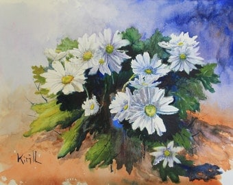 Floral Watercolor Painting, Chrysanthemums, Bouquet of Spring Mums, Watercolor Wall Art - Print