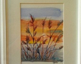 Watercolour painting in a White Wooden Frame with matte