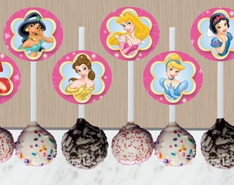 Disney Princess Cake Pop Toppers - Instant Download - Disney Princess Cupcake Toppers - Princess Party - Digital Download - Princesses