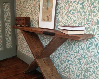 Rustic Industrial Reclaimed Wooden Console table