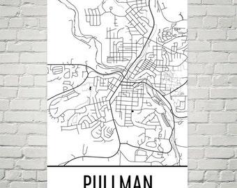 Pullman Map, Pullman Art, Pullman Print, Pullman WA Poster, Pullman Wall Art, Pullman Gift, Pullman Decor, Pullman Map Art, Modern Art Print