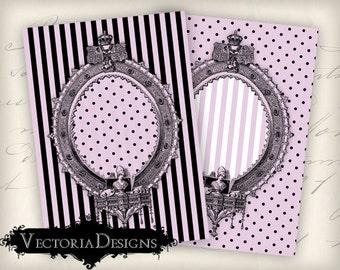 Frame Pink Black ATC vintage images digital background instant download printable collage sheet VD0330