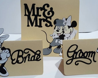 Mickey and minnie mouse bride and groom place cards