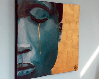 Painting with gold paint-emotional portrait of a young man