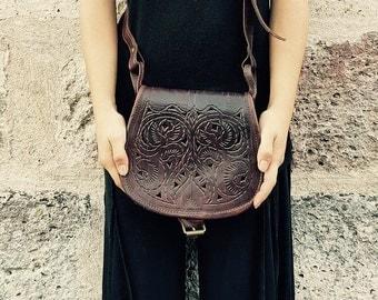 Tooled leather bag bohemian gift idea boho rustic vintage Moroccan bag cross body small purse bag