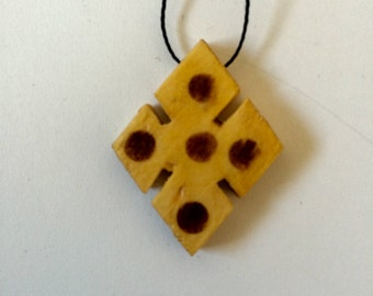 Handmade Ethiopian Wooden Meskel Pendant