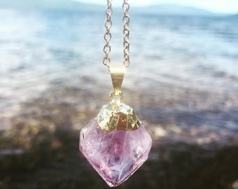 Raw Amethyst Necklace dipped in 24k Gold