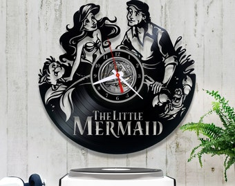 Vinyl Record Clock the Little Mermaid| Wall clock Disney 0/9/4| Original Clock| Unique Wall Clock| Gift for Baby Girl| Wall Record Clock
