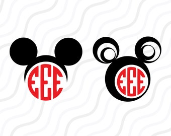 Mickey Mouse SVG,Mickey Head SVG,Mickey Mouse Monogram SVG Cut table Design,svg,dxf,png Use With Silhouette Studio & Cricut_Instant Download