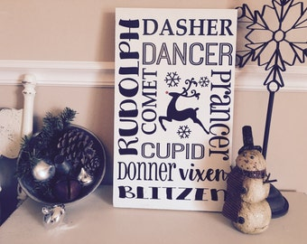 Holiday Signs, Reindeer sign, Rustic Christmas, Rustic holiday sign, Christmas Sign, Wood sign,