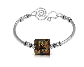 Sterling Silver Jewelry, Statement Jewelry Brown Jewelry Bracelet, Summer Bracelet Boho Bracelet, New Girlfriend Gift Bracelet
