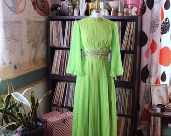 vintage 1960s angel sleeve chiffon gown . lime green 60s maxi dress with accordion pleats rhinestones . womens xs small
