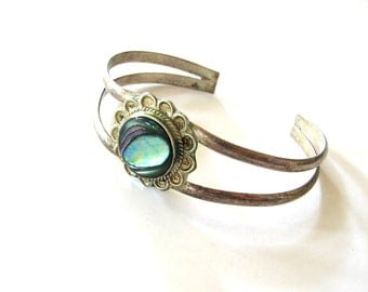 vintage Alpaca Mexico silver bracelet with abalone shell flower . womens cuff bracelet with natural shell