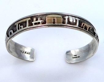 14k Gold and Sterling Silver Nakai Storyteller Navajo Cuff Bracelet