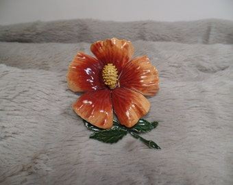 1960's Enameled Hibiscus Flower Pin-Fall Colors