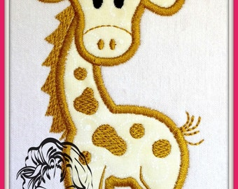 GIRAFFE Girl Applique Animal Zoo Baby Fun on a Tee - INSTANT Download Machine Embroidery Design by Carrie