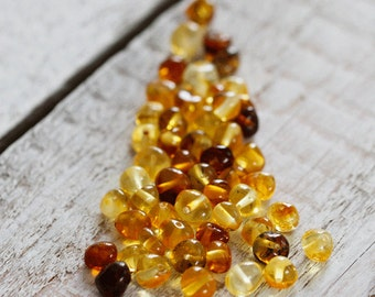 50 Pcs. Baltic Amber Loose Beads 4-6 mm