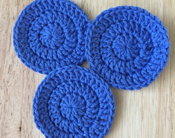 Scrubbys , ready to ship, set of three blue cotton facial rounds, cotton pads, soft scrubbies, reusable make up removers, teen gift,