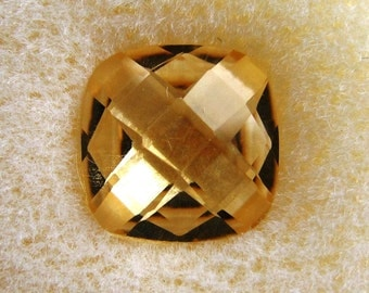 10mm Fancy Cut Citrine Cushion Checkerboard Top and Bottom Loose Gemstone of 3.380 Carats