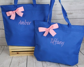 6 Personalized Zippered Tote Bag Bridesmaids Gift- Bridesmaid Gift- Personalized Bridesmaid Tote - Wedding Party Gift - Wedding Totes
