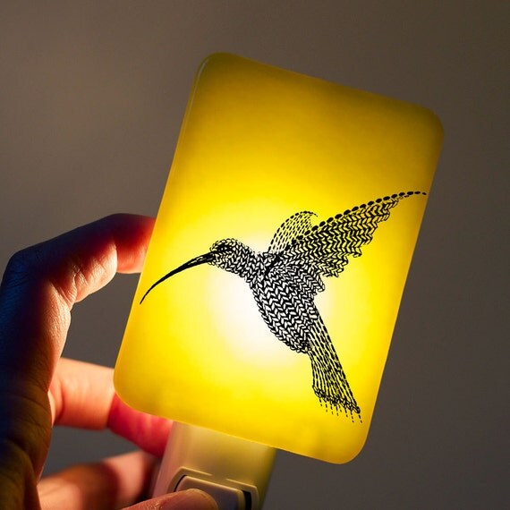 Hummingbird Nightlight on Lemon Yellow Fused Glass Night Light - Gift for Baby Shower or Nature Lover by Happy Owl Glass