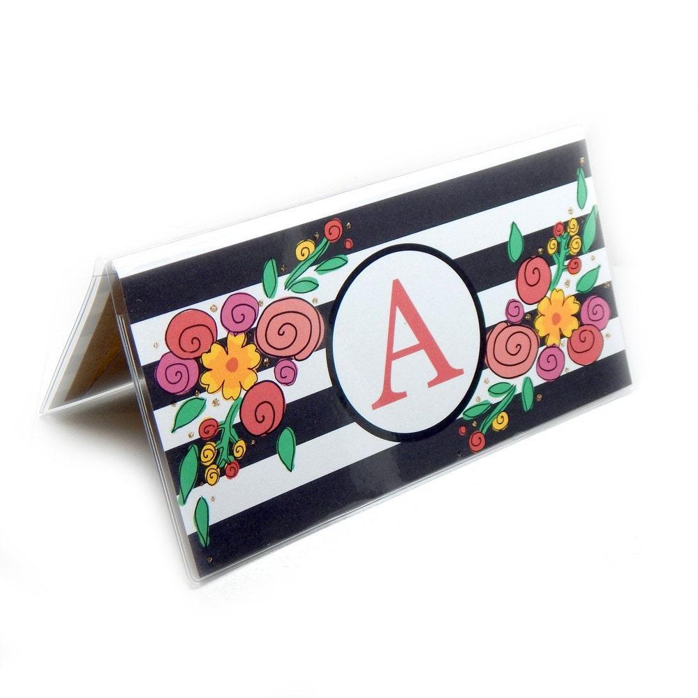 Pretty Checkbook Cover ~ Personalized checkbook cover modern floral stripe choose