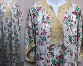 Vintage Floral Maxi Diva Goddess Caftan Dress w/ Metallic Gold embroidery / Free Size OSFA