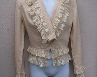 Vintage Romantic Victorian Beige Linen Blazer Jacket trimmed with Lace / Top steampunk waistcoat / sz Sml