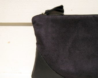 BLACK CLUTCH, medium, suede fabric, pocket, gift for her, leather corners, black