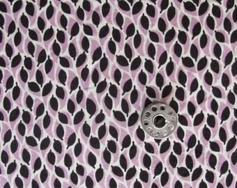 Half Yard Kitty Yoshida Prospect Park Leaf Print Quilting Cotton Fabric | Lavender and Black Print Fabric