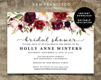 Bridal Shower Invitation INSTANT DOWNLOAD |  Editable Bridal Shower Invite Template | watercolor, roses, marsala | Holly | Printable PDF