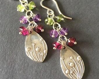 Wildflowers, Peridot, Amethyst, Pink Tourmaline, Fine Silver, Sterling Silver Gemstone Charm Earrings, erinelizabeth