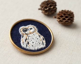 Owl Jewelry - Embroidered Brooch - Brass Circle Pin - Totem Woodland Animal - Monocle - Men - Women