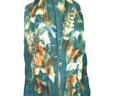 Eco print scarf, Teal color, Botanical Print scarf, Nuno Felted scarf, Merino wool scarf, scarf in vibrant colors, leaf print, accessories,