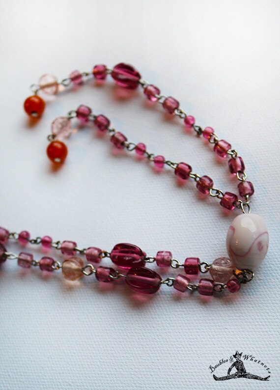 Pink Glass Beaded Long Necklace - Tassel Necklace - OOAK