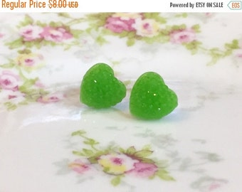 Green Sparkly Heart Studs, Sparkle Heart Studs, Kawaii Studs, Sugar Coated Candy Heart Studs, Little Heart Studs, Valentine's Day Stud