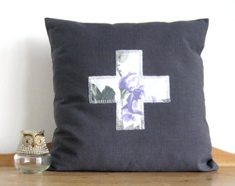 SALE pillow with Vintage Roses Cross