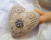 Token of Love Crocheted Heart Sentiment Pillow