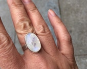 Moonstone Ring - Sterling Silver - Statement Ring - Size 8
