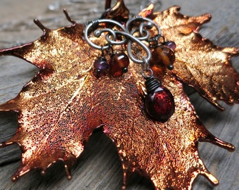 Autumn Rustlings Sugar Maple necklace ... real leaf / wire wrapped antique fine silver / red garnet / hessonite / baltic amber