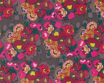 Anna Maria Horner Mod Corsage Peonies in Bright cotton quilt fabric - fat quarter
