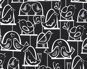 Half yard - Bird Swing in Black - Michael Miller cotton quilt fabric
