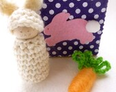 Bunny in a box peg doll bunny and carrot Waldorf inspired ready to ship