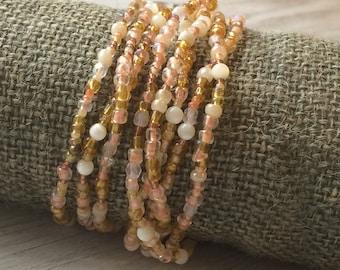 Long seed bead bracelet, sandy peach beaded bracelet, beaded necklace