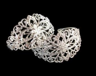 10 Cuff bracelets,  silver filigree cuff bracelets, vintage style bracelet, filigree cuff, bridal jewelry, diy wedding