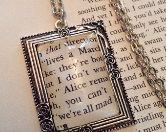 Alice in Wonderland Necklace / Gift For Her/ Book Lover Gift / Literary Jewelry / Recycled Book Necklace